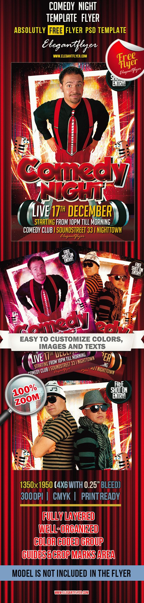 comedy night free club and party flyer psd template. Black Bedroom Furniture Sets. Home Design Ideas