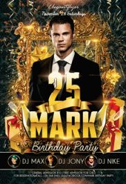 Mark Birthday Party Poster Template