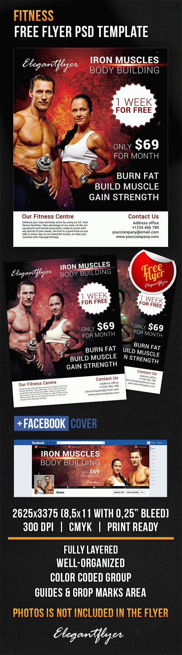 fitness flyer free psd flyer template by elegantflyer. Black Bedroom Furniture Sets. Home Design Ideas