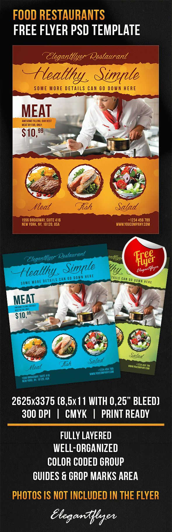 Food Restaurants Free Flyer Psd Template By Elegantflyer