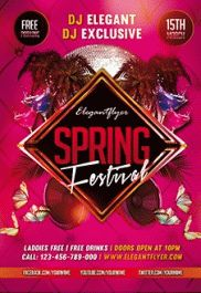 Spring Night Party – Premium Club flyer PSD Template