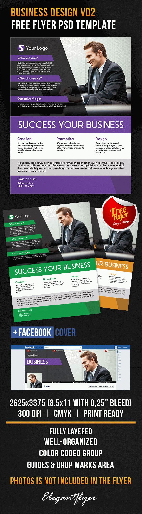 Business Design V02 – Free Flyer PSD Template + Facebook Cover