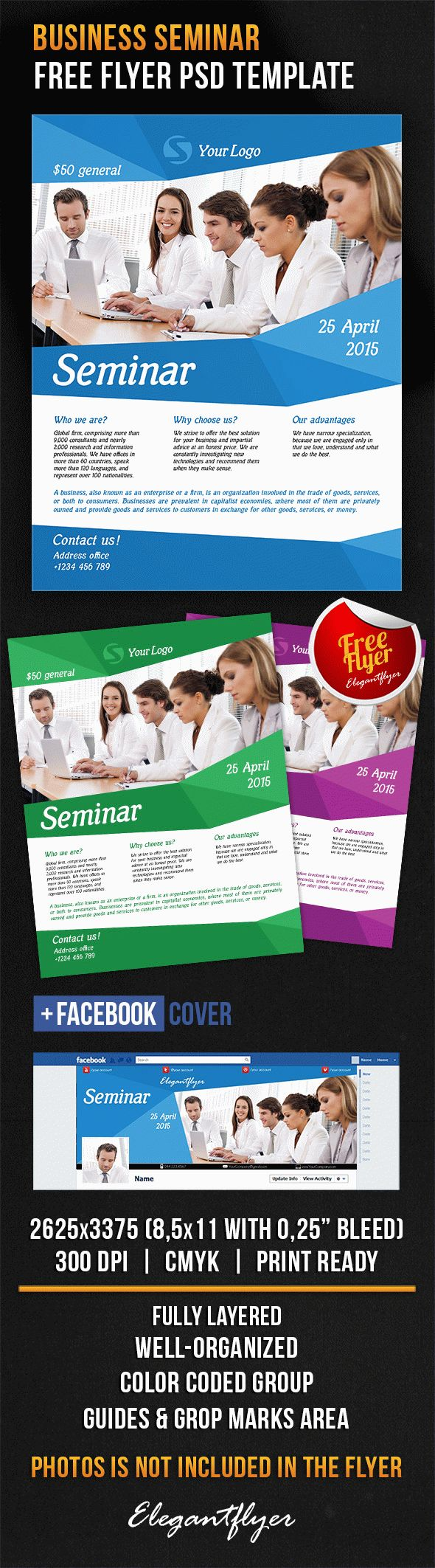 Business seminar free flyer psd template by elegantflyer for Free business flyer templates