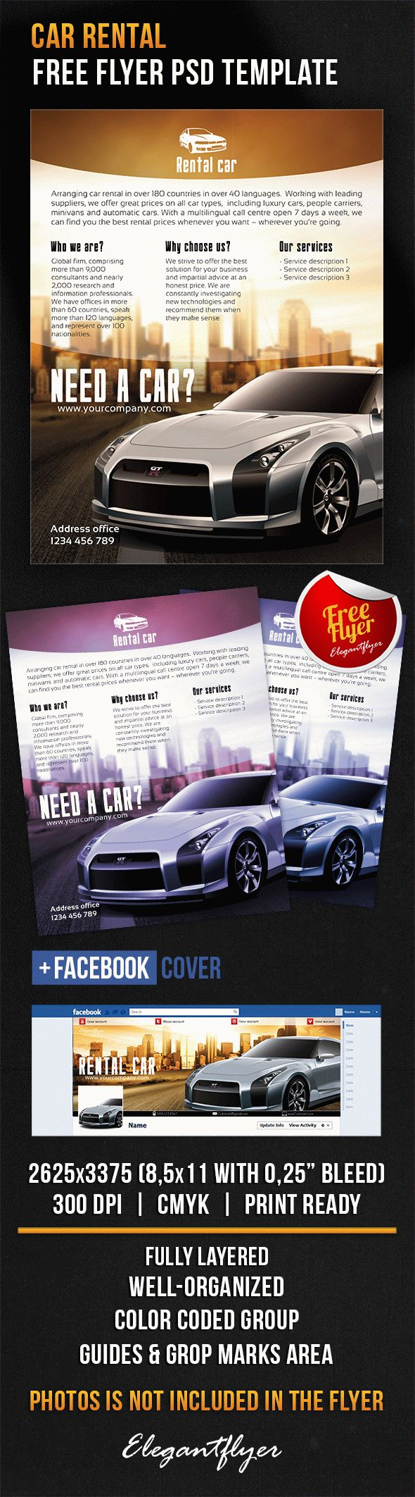 Car Rental – Free Flyer PSD Template + Facebook Cover