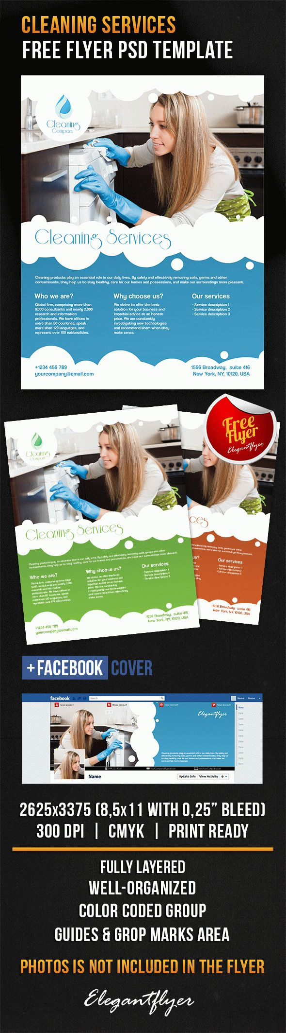 cleaning brochure templates free - cleaning services free flyer psd template by elegantflyer