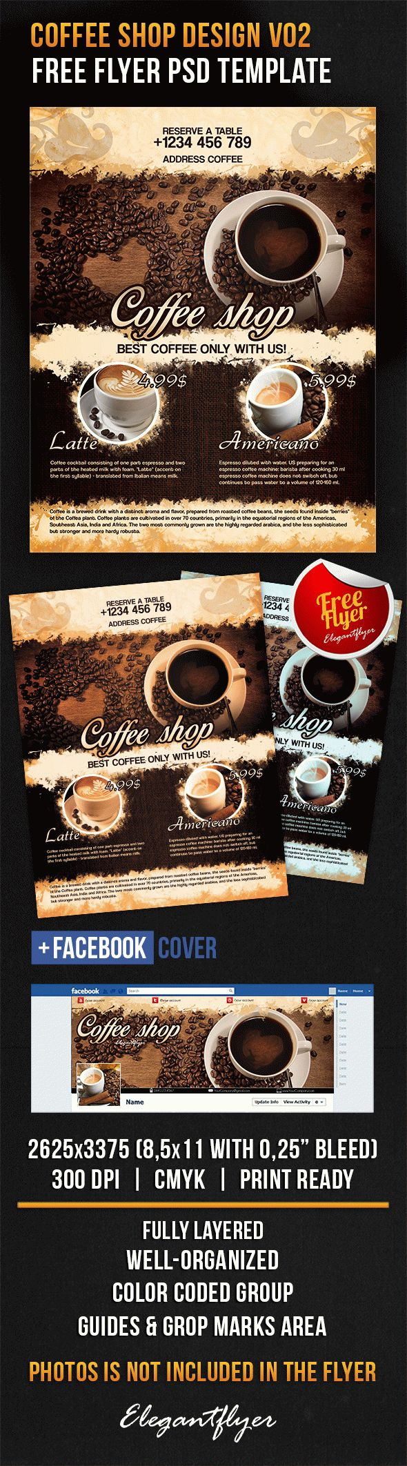 Coffee Shop Design V02 – Free Flyer PSD Template + Facebook Cover