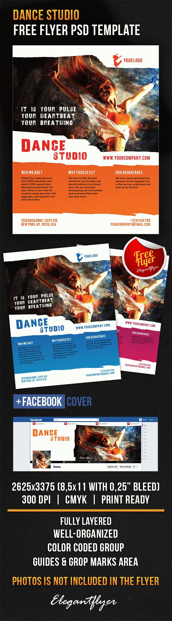 Dance Studio – Free Flyer PSD Template + Facebook Cover