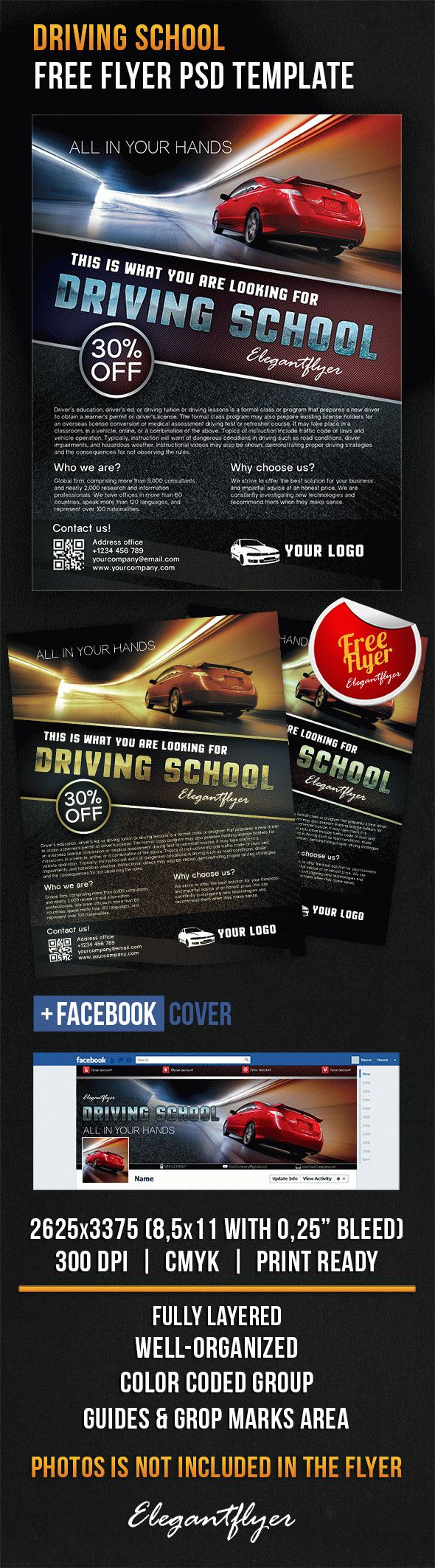 Driving school – Free Flyer PSD Template