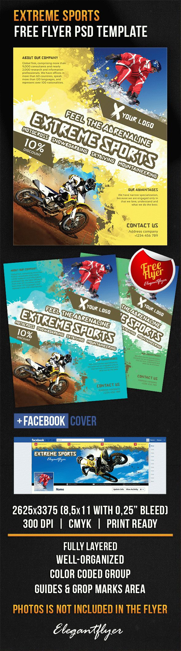 Extreme Sports – Free Flyer PSD Template – by ElegantFlyer