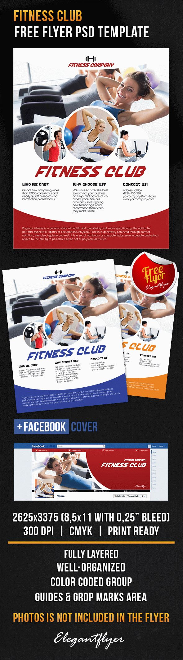 Fitness club – Free Flyer PSD Template + Facebook Cover