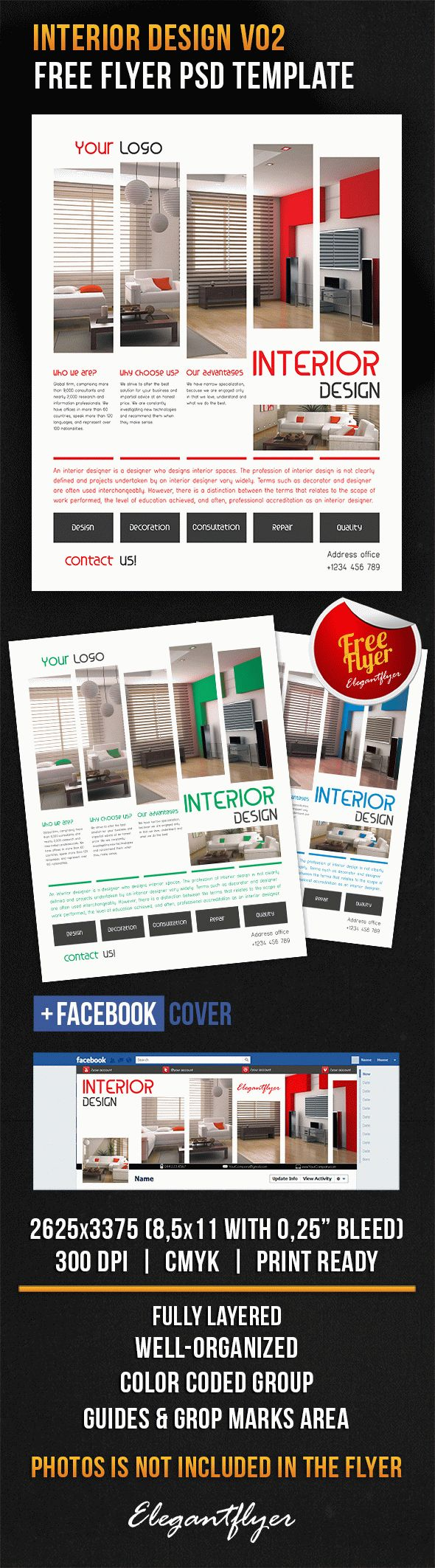 Interior Design V02 Free Flyer PSD Template Facebook Cover