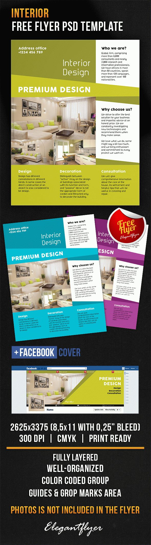 Interior – Free Flyer PSD Template + Facebook Cover