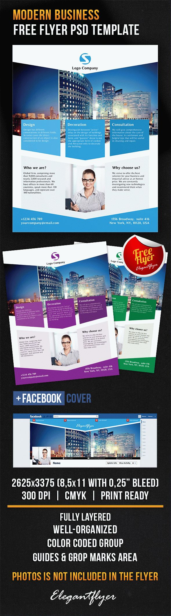 Modern Business – Free Flyer PSD Template