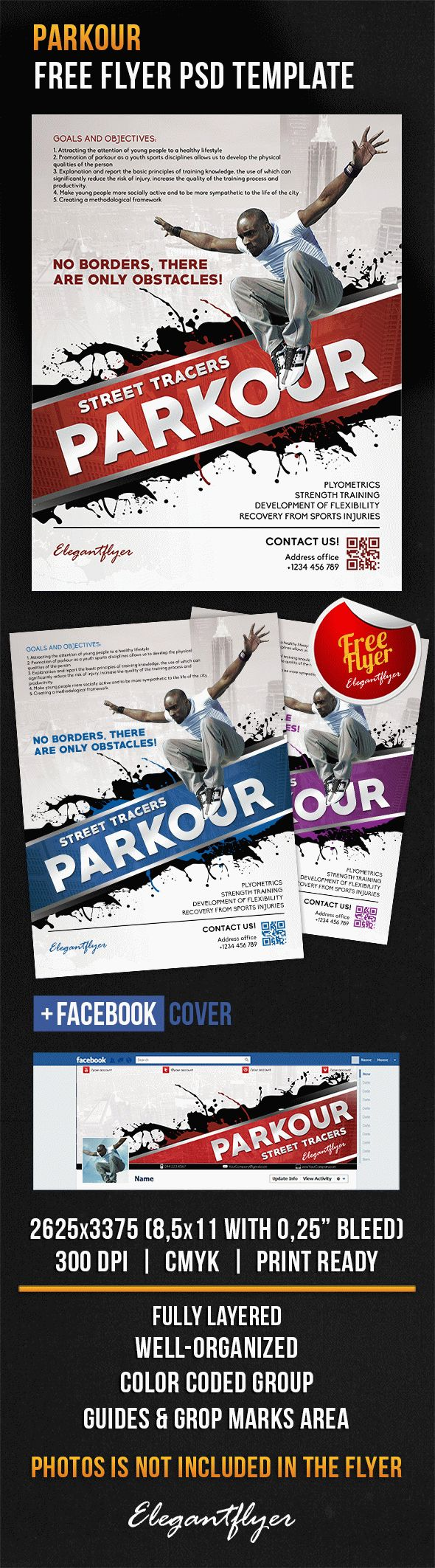 Parkour – Free Flyer PSD Template + Facebook Cover