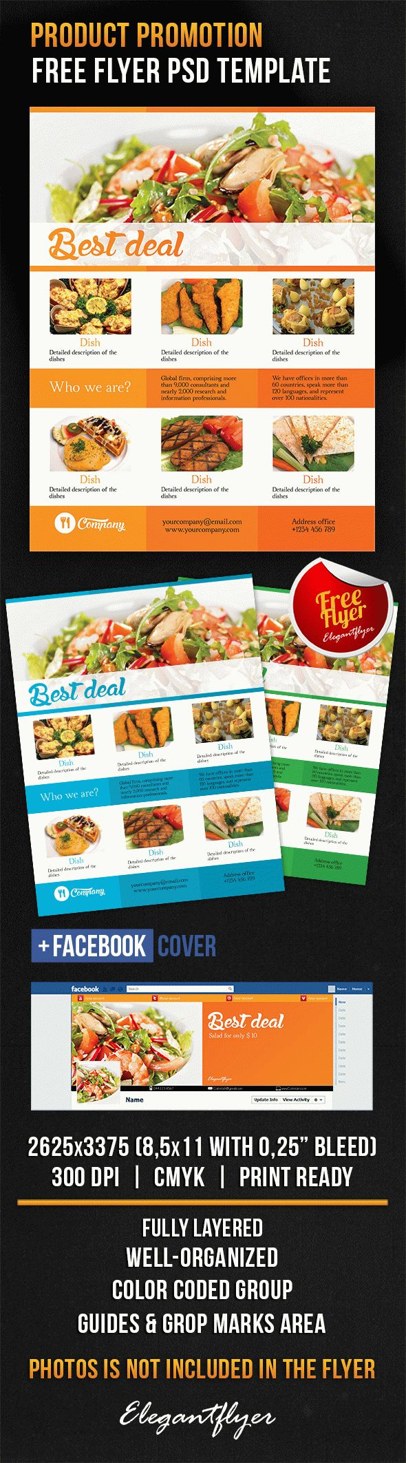 Product Promotion – Free Flyer PSD Template + Facebook Cover