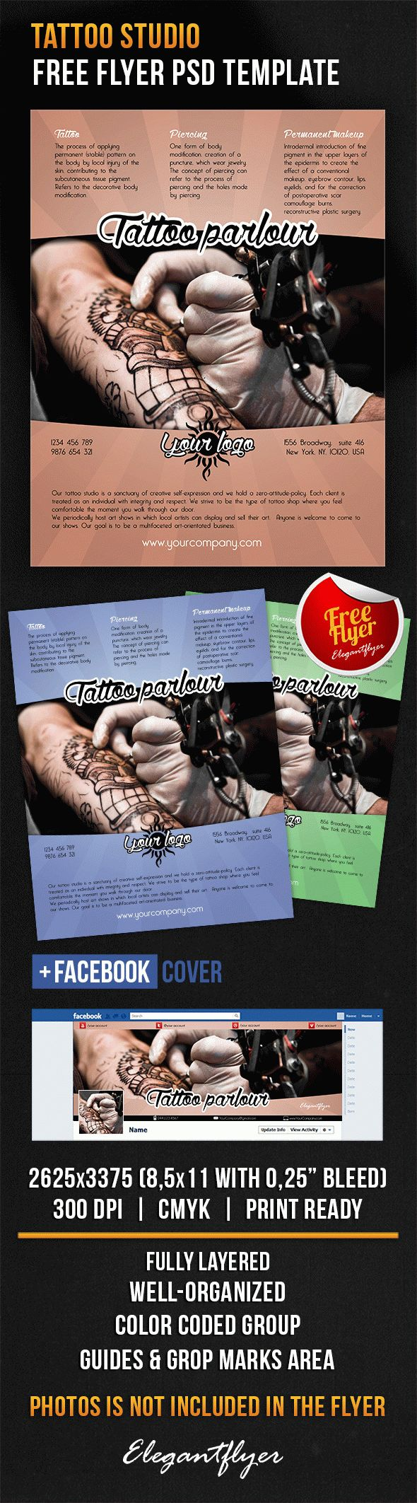 Tattoo studio – Free Flyer PSD Template + Facebook Cover