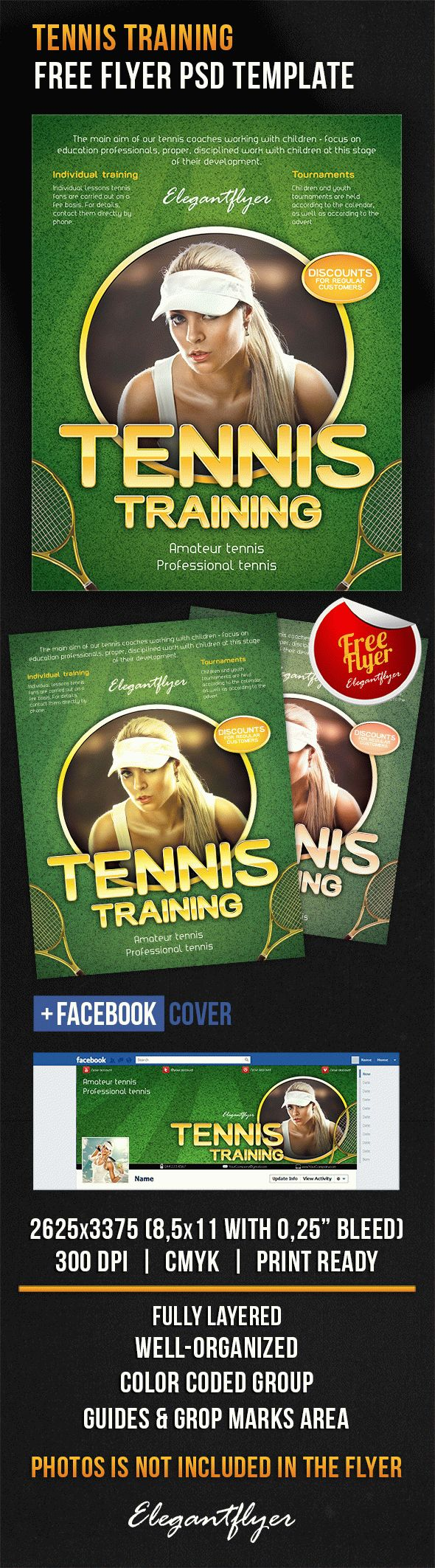 Tennis training – Free Flyer PSD Template + Facebook Cover