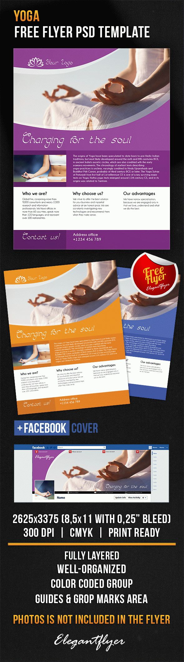 Yoga – Free Flyer PSD Template + Facebook Cover