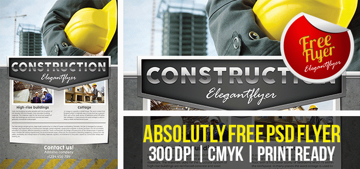 Construction company  Free Flyer PSD Template  by
