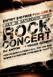 Rock The Night – Flyer PSD Template + Facebook Cover