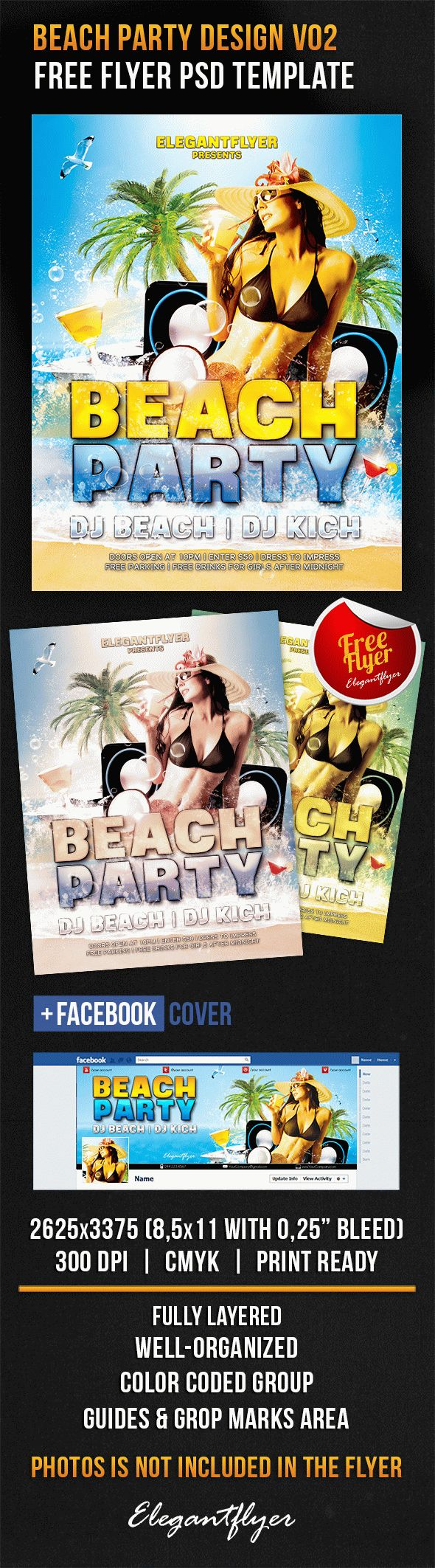 Beach Party Design V02 – Free Flyer PSD Template + Facebook Cover