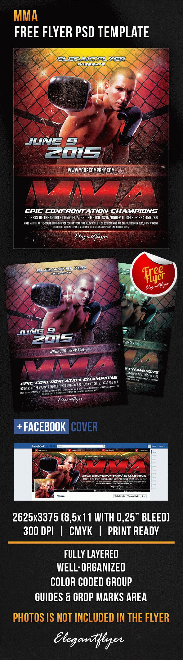 MMA – Free Flyer PSD Template + Facebook Cover