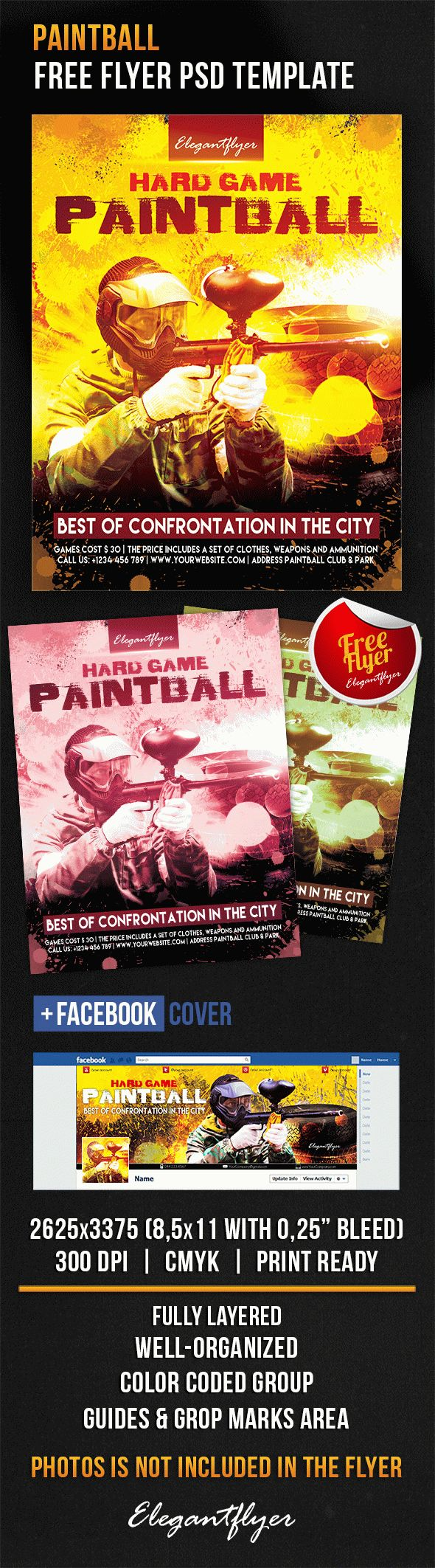 Paintball – Free Flyer PSD Template + Facebook Cover