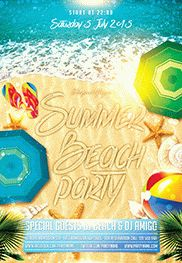 Summer Party – Premium Club flyer PSD Template + Facebook Cover