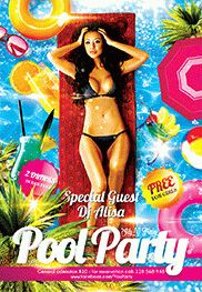 Pool Party 2 – Free Flyer PSD Template + Facebook Cover