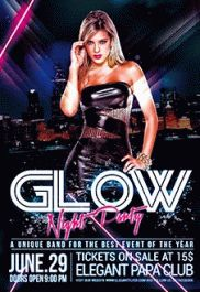 Glow Night Party – Premium Club flyer PSD Template