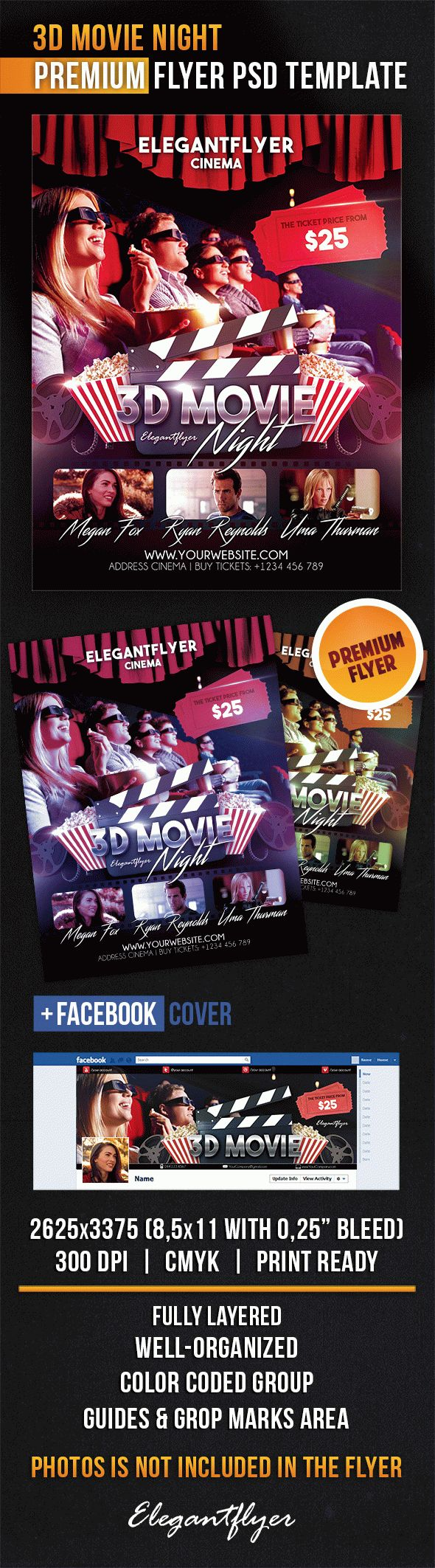 3D Movie Night – Flyer PSD Template + Facebook Cover