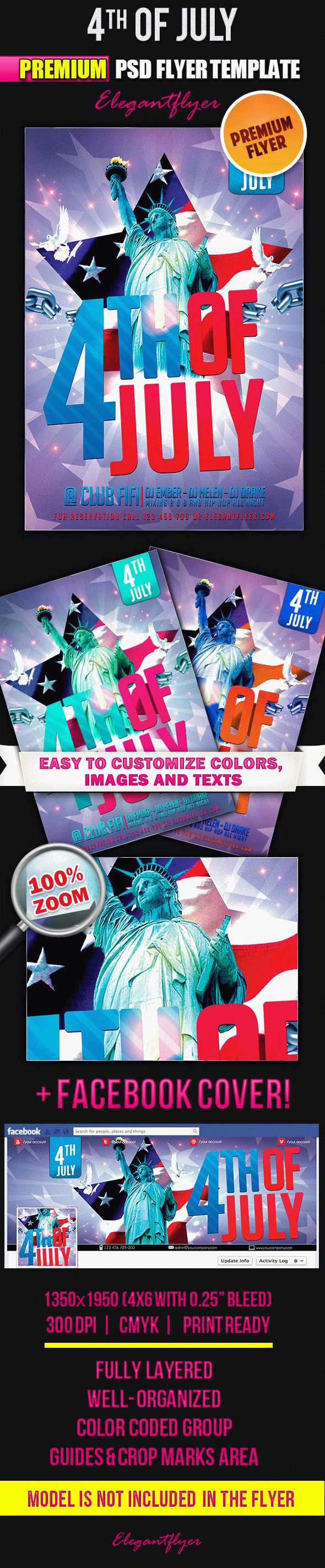 4th of July – Flyer PSD Template + Facebook Cover