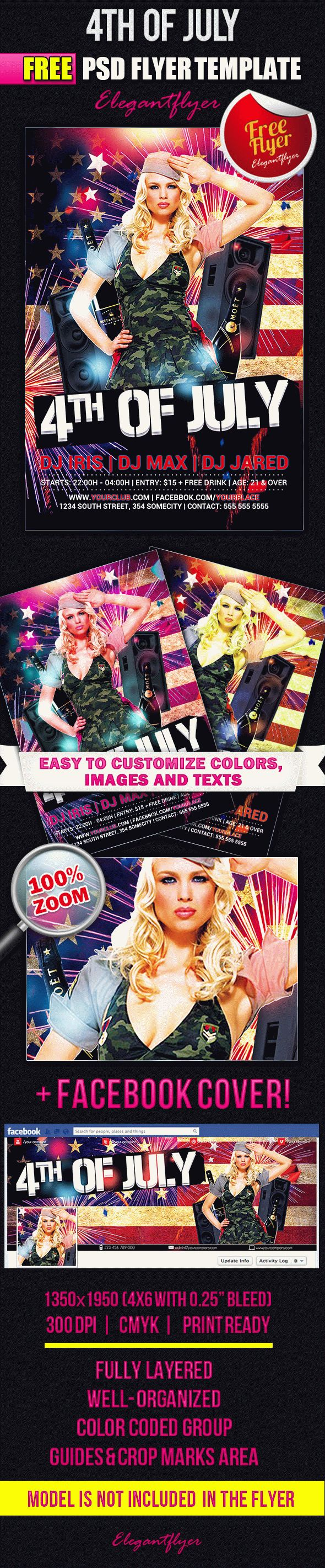 Happy 4th of July Sexy Free PSD Template