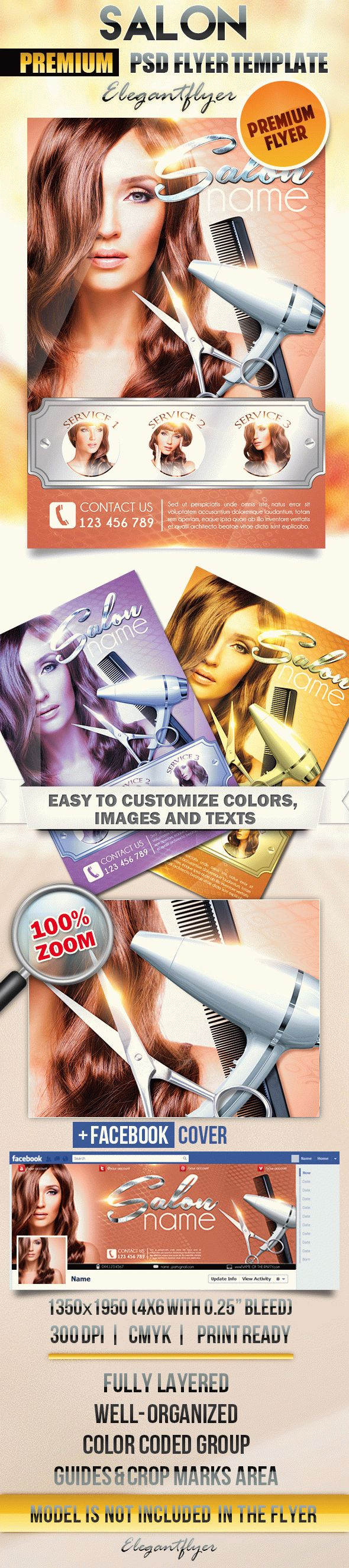 Salon – Flyer PSD Template + Facebook Cover