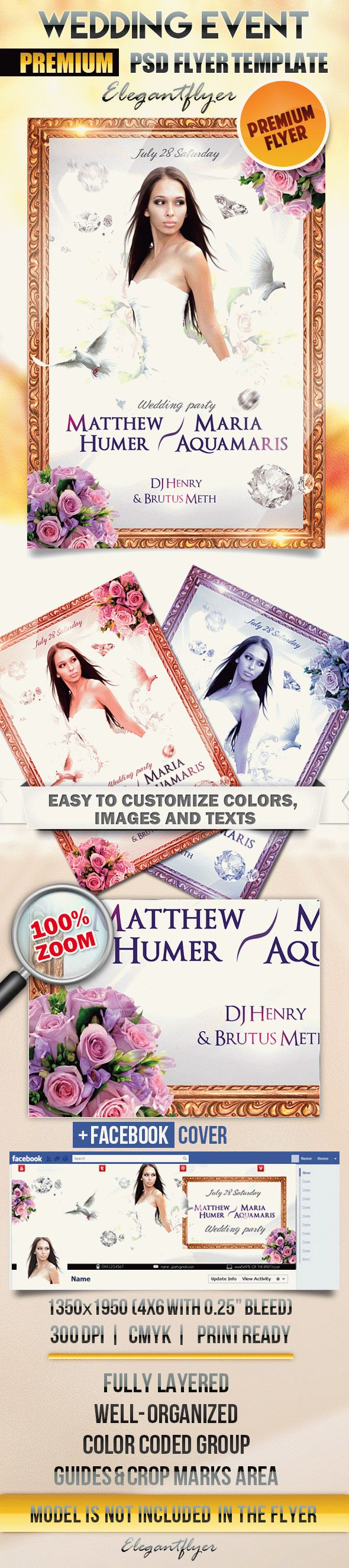 Wedding Event – Flyer PSD Template + Facebook Cover