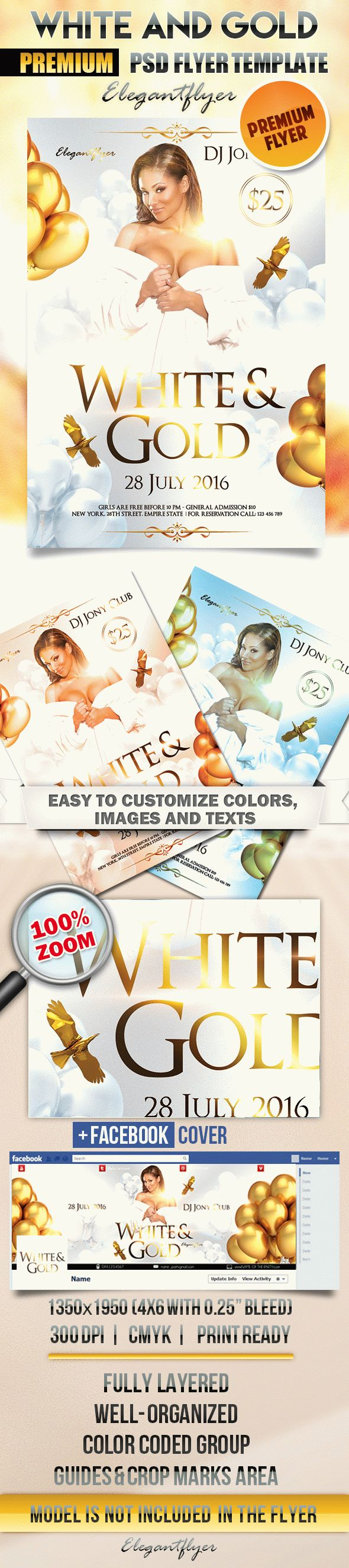 White and Gold Party – Flyer PSD Template + Facebook Cover