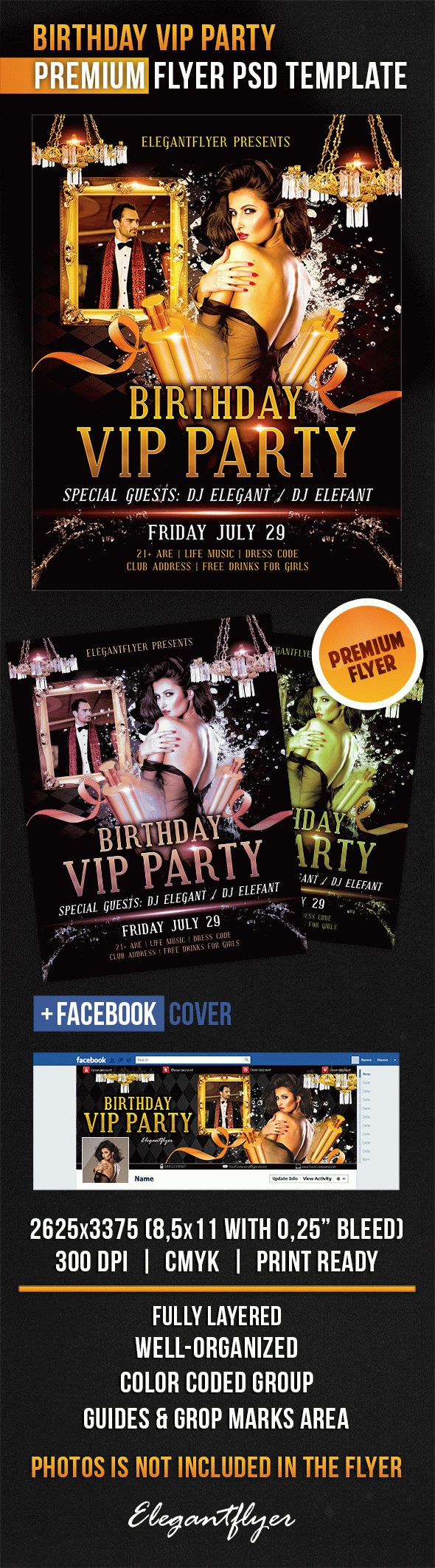 Birthday Vip Party – Flyer PSD Template + Facebook Cover