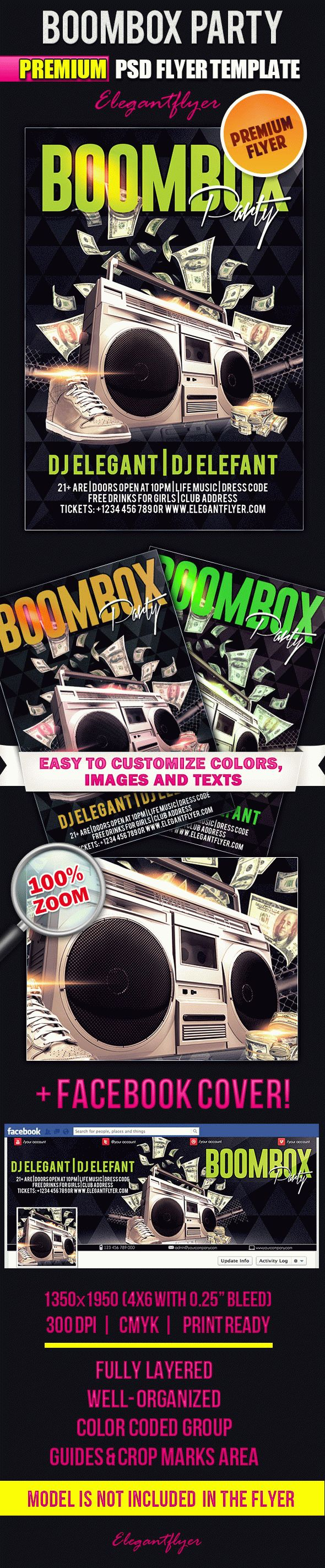 Boombox Party – Flyer PSD Template + Facebook Cover