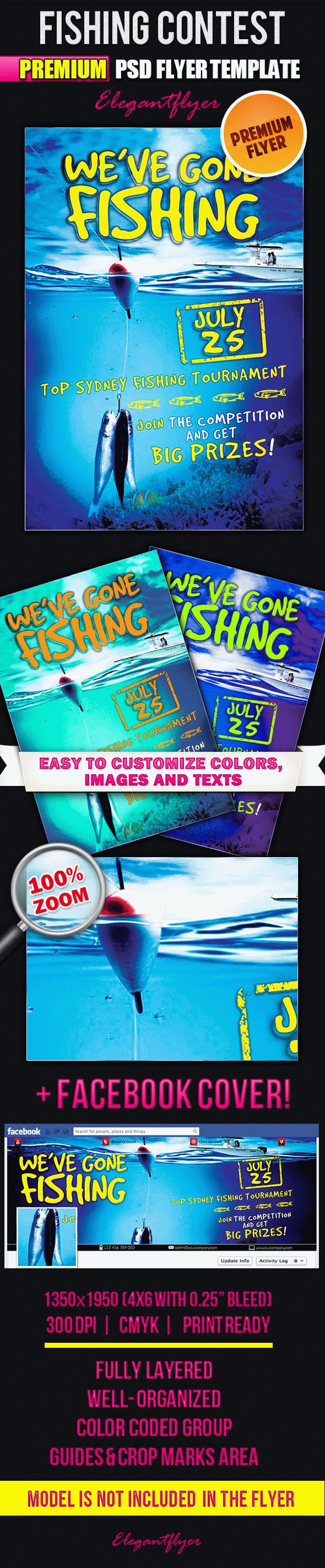 Fishing Contest – Flyer PSD Template + Facebook Cover