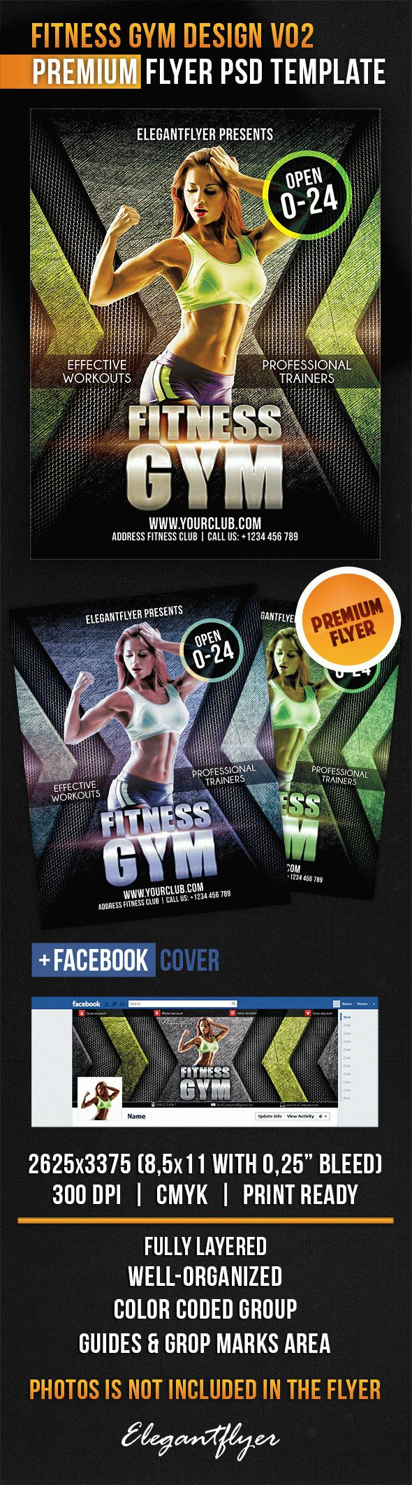 Fitness Gym Design V02 – Flyer PSD Template + Facebook Cover