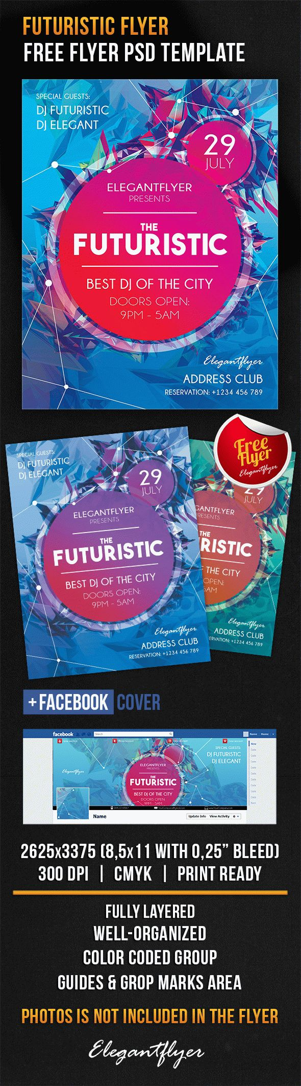 Futuristic Flyer – Free Flyer PSD Template + Facebook Cover
