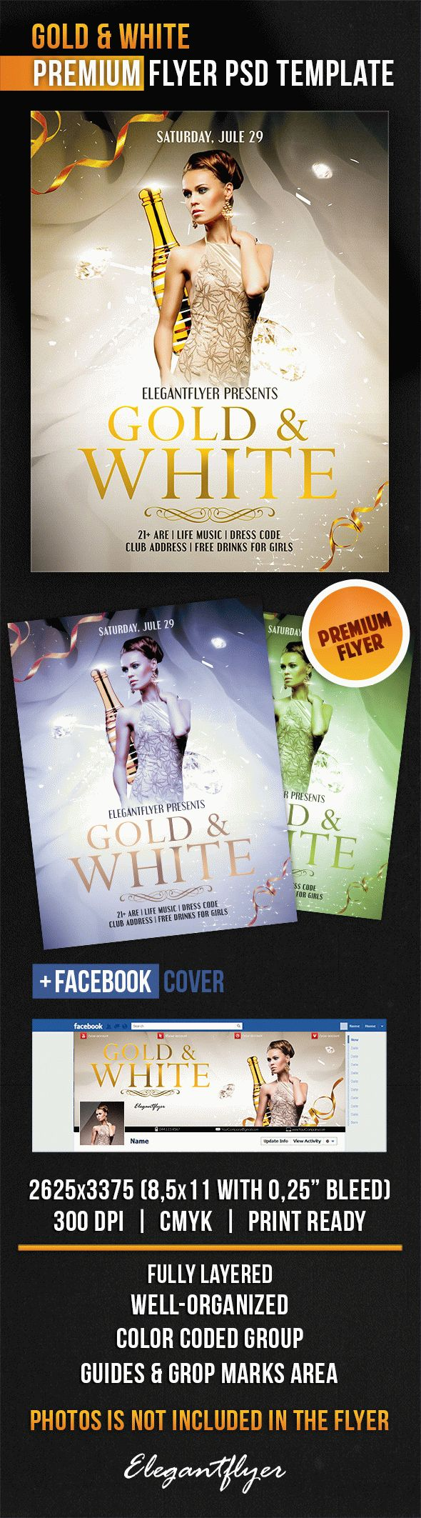 Gold & White – Flyer PSD Template + Facebook Cover