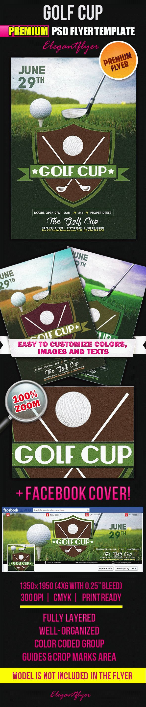 Golf Cup – Flyer PSD Template + Facebook Cover