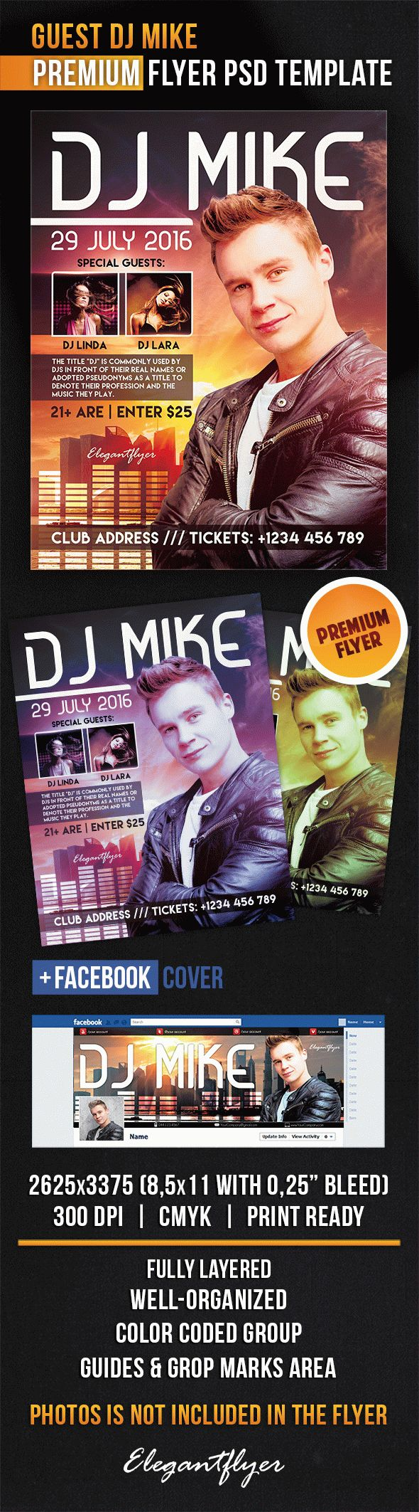 Guest Dj Mike – Flyer PSD Template + Facebook Cover