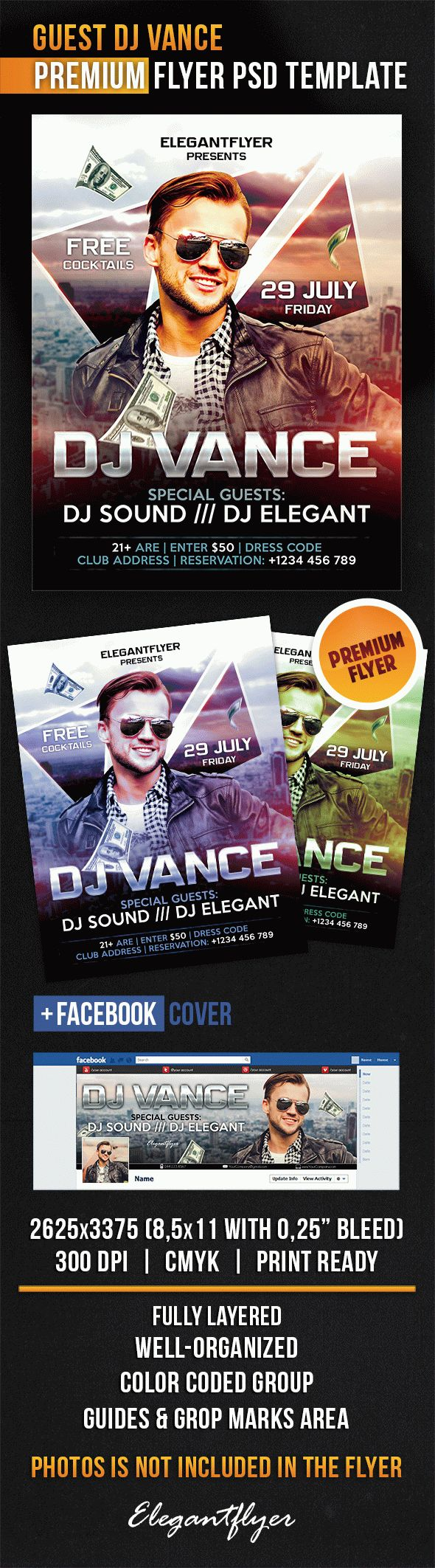 Guest Dj Vance – Flyer PSD Template + Facebook Cover