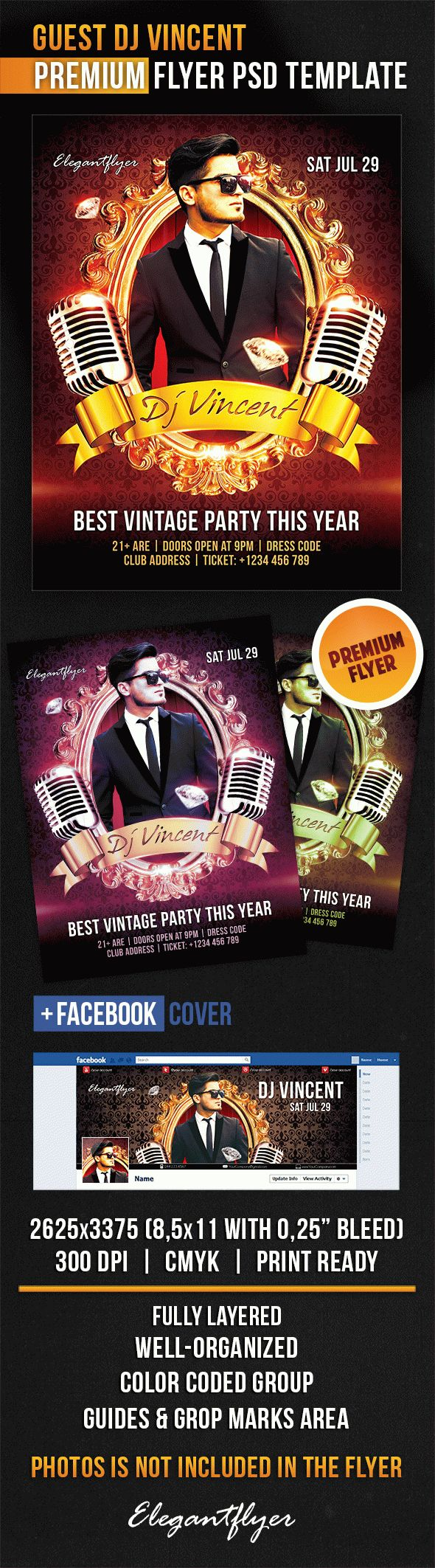 Guest Dj Vincent – Flyer PSD Template
