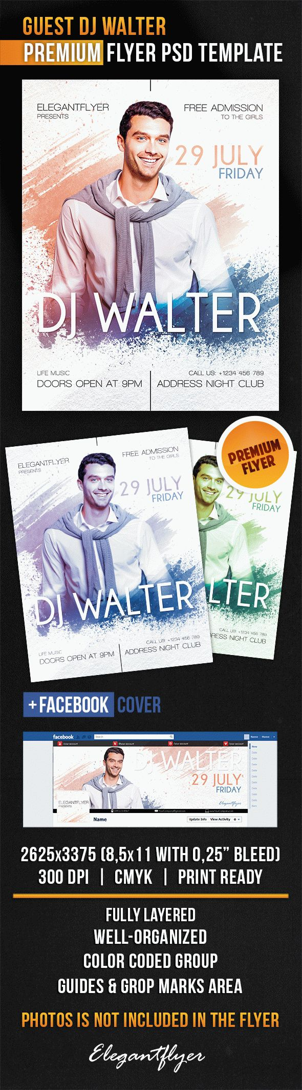 Guest Dj Walter – Flyer PSD Template + Facebook Cover
