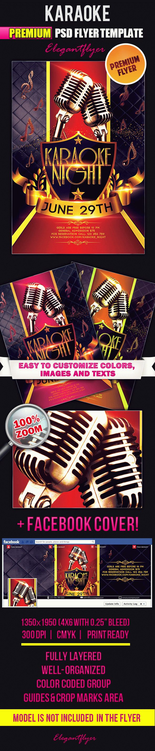 Karaoke – Flyer PSD Template + Facebook Cover
