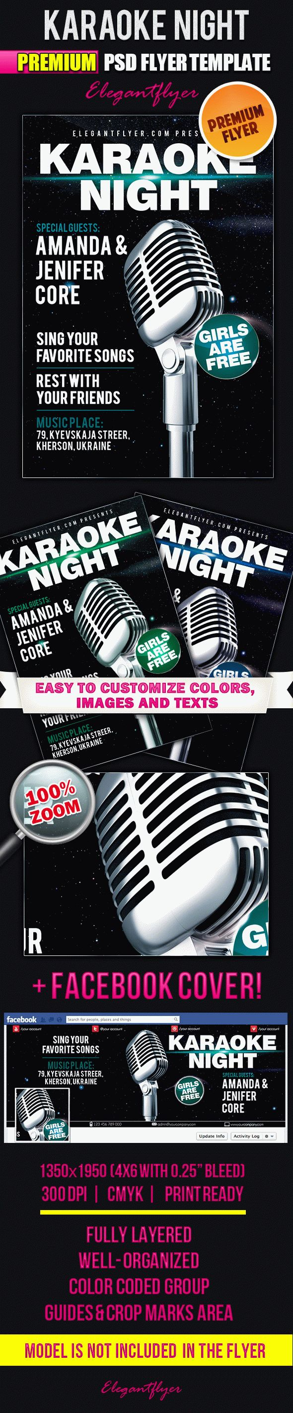 Karaoke Friday – Flyer PSD Template + Facebook Cover