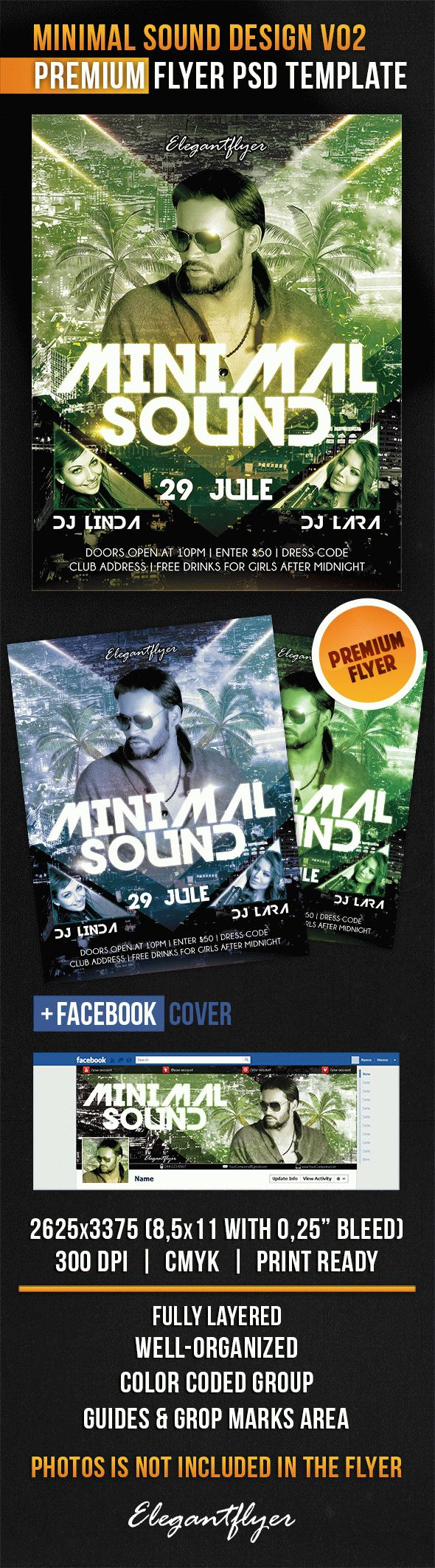 Minimal Sound Design V02 – Flyer PSD Template + Facebook Cover